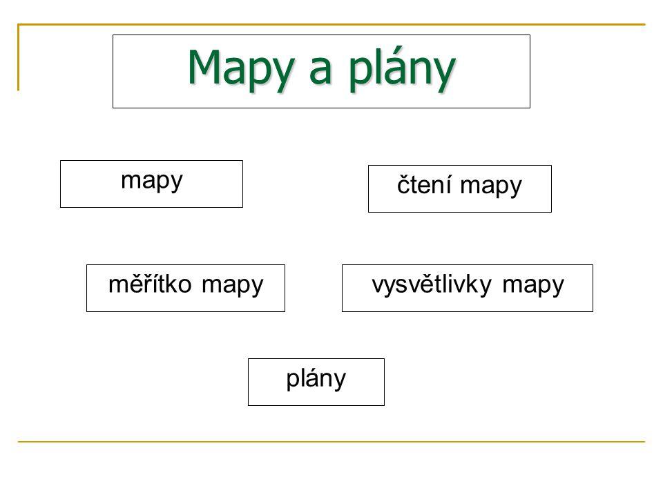 Mapy a plány mapy čtení mapy vysvětlivky mapyměřítko mapy plány