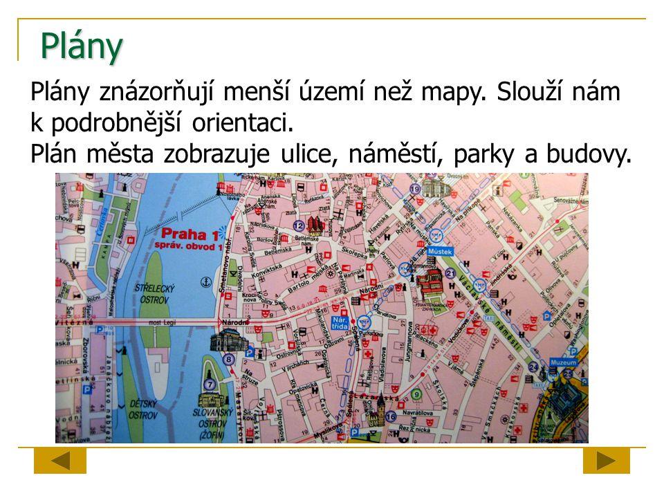 Plány Plány znázorňují menší území než mapy. Slouží nám k podrobnější orientaci. Plán města zobrazuje ulice, náměstí, parky a budovy.