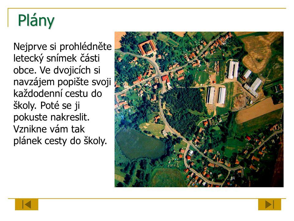 Plány Nejprve si prohlédněte letecký snímek části obce. Ve dvojicích si navzájem popište svoji každodenní cestu do školy. Poté se ji pokuste nakreslit