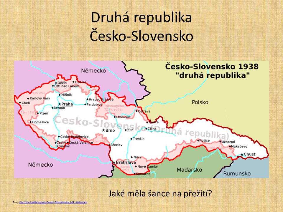 Druhá republika Česko-Slovensko Zdroj: http://cs.wikipedia.org/wiki/Soubor:Czechoslovakia_COA_medium.svghttp://cs.wikipedia.org/wiki/Soubor:Czechoslovakia_COA_medium.svg Jaké měla šance na přežití?