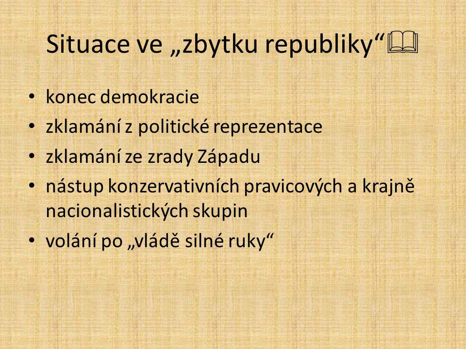 """Situace ve """"zbytku republiky""""  konec demokracie zklamání z politické reprezentace zklamání ze zrady Západu nástup konzervativních pravicových a krajn"""