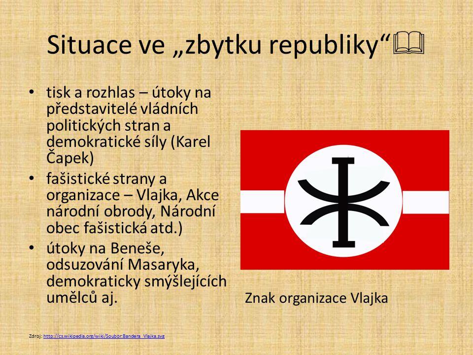 """Situace ve """"zbytku republiky""""  tisk a rozhlas – útoky na představitelé vládních politických stran a demokratické síly (Karel Čapek) fašistické strany"""