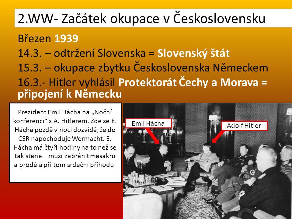 2.WW- Začátek okupace v Československu Březen 1939 14.3. – odtržení Slovenska = Slovenský štát 15.3. – okupace zbytku Československa Německem 16.3.- H