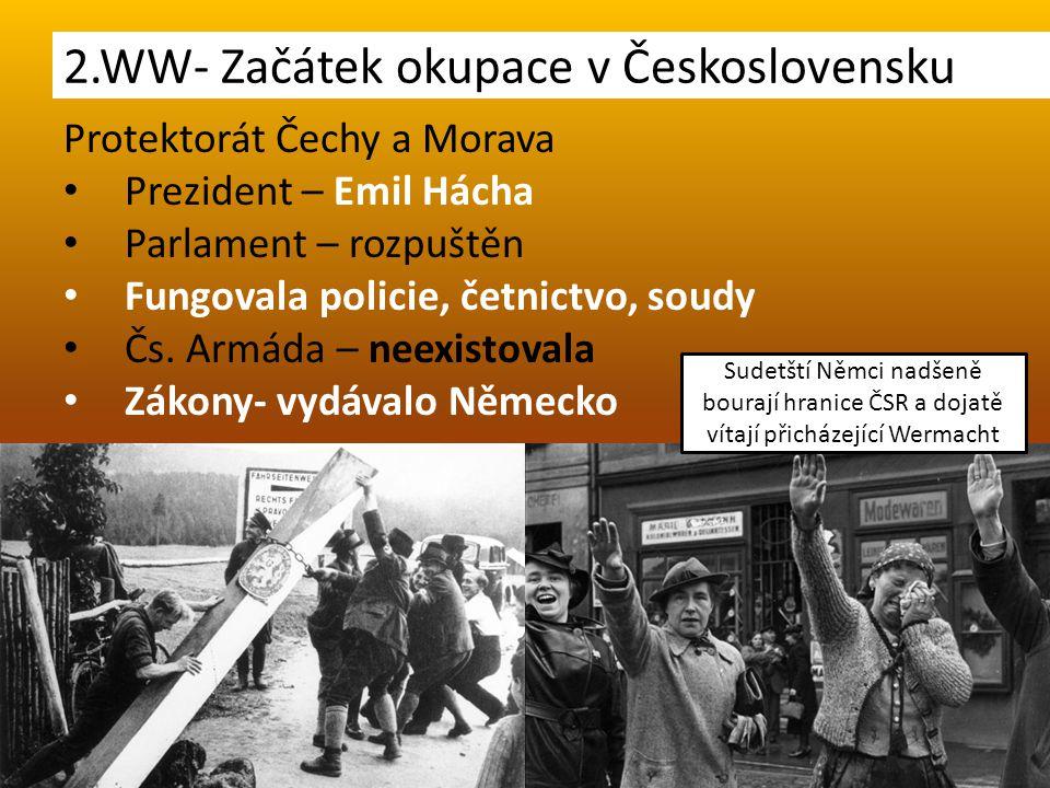 Protektorát Čechy a Morava Prezident – Emil Hácha Parlament – rozpuštěn Fungovala policie, četnictvo, soudy Čs. Armáda – neexistovala Zákony- vydávalo