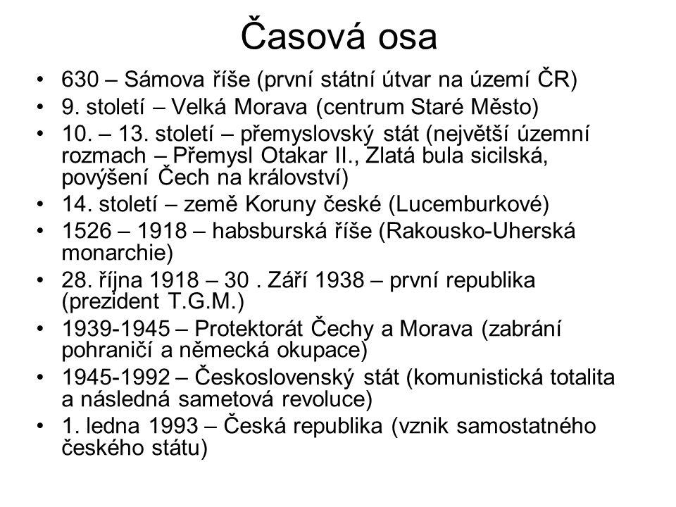 Časová osa 630 – Sámova říše (první státní útvar na území ČR) 9. století – Velká Morava (centrum Staré Město) 10. – 13. století – přemyslovský stát (n