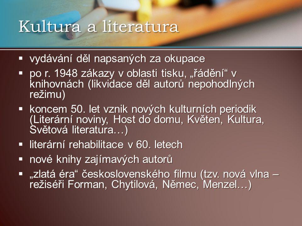 Kultura a literatura  vydávání děl napsaných za okupace  po r.
