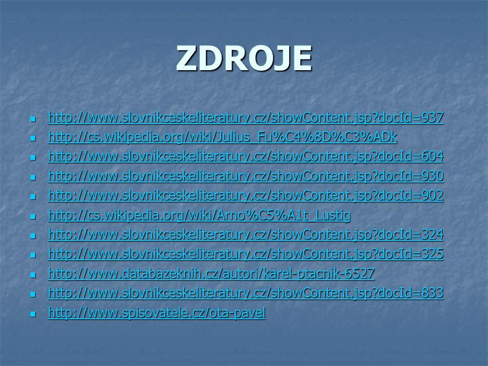 ZDROJE http://www.slovnikceskeliteratury.cz/showContent.jsp?docId=937 http://www.slovnikceskeliteratury.cz/showContent.jsp?docId=937 http://www.slovni