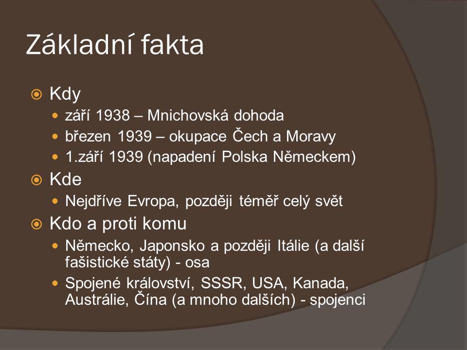 Základní fakta  Kdy září 1938 – Mnichovská dohoda březen 1939 – okupace Čech a Moravy 1.září 1939 (napadení Polska Německem)  Kde Nejdříve Evropa, p