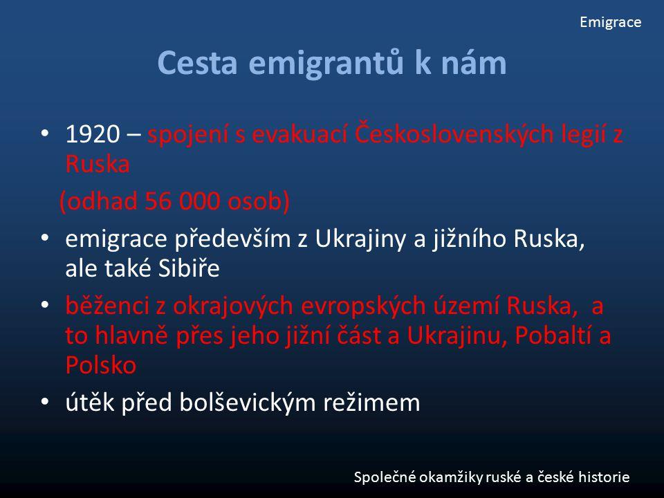 Cesta emigrantů k nám 1920 – spojení s evakuací Československých legií z Ruska (odhad 56 000 osob) emigrace především z Ukrajiny a jižního Ruska, ale