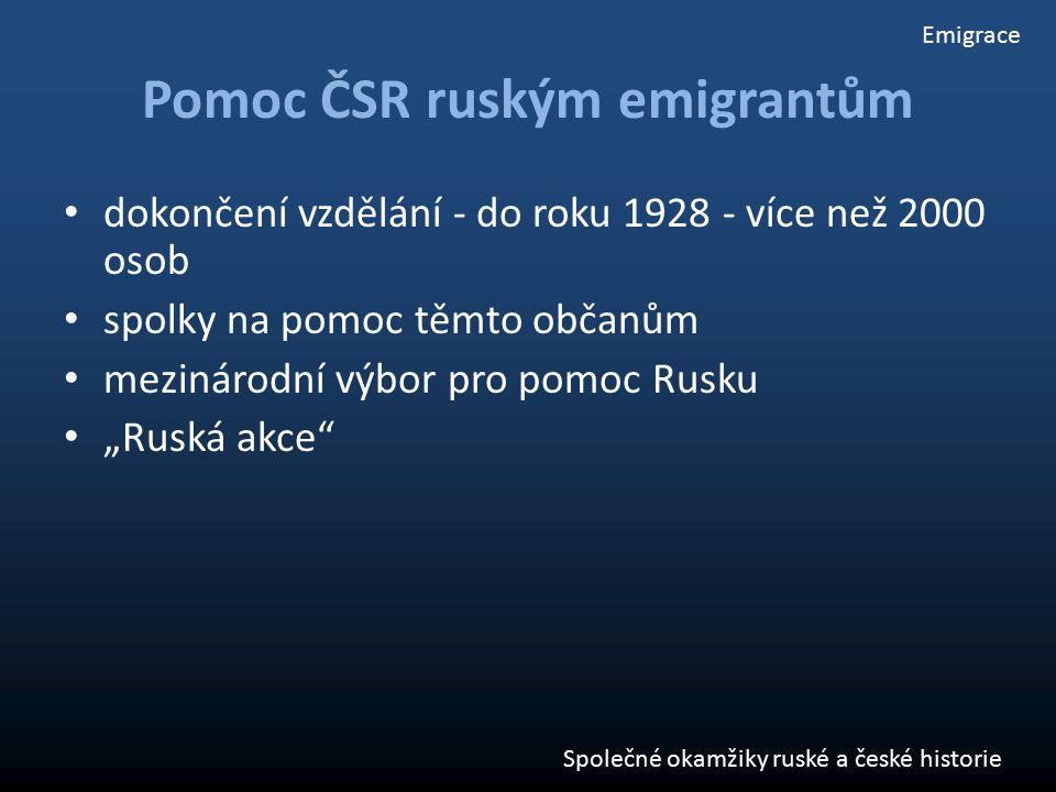 """Pomoc ČSR ruským emigrantům dokončení vzdělání - do roku 1928 - více než 2000 osob spolky na pomoc těmto občanům mezinárodní výbor pro pomoc Rusku """"Ru"""