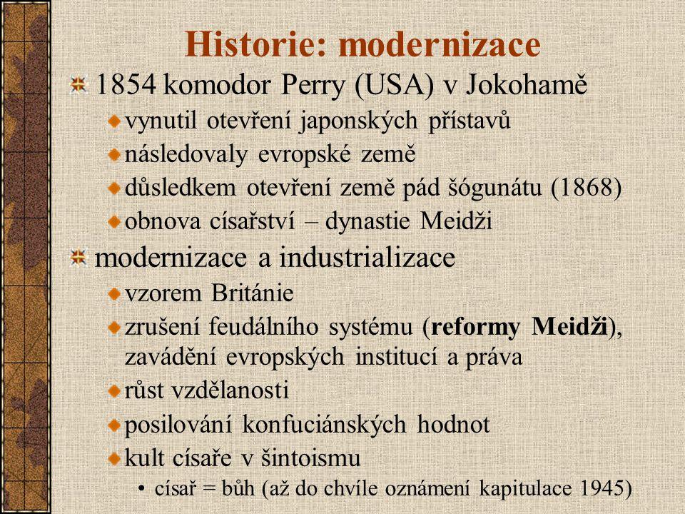 """Vojenská expanze rychlý růst průmyslu a zbrojní výroby zaibatsu (""""konglomerát ) vojensko-průmyslově-finanční konglomeráty silná čtyřka: Mitsubishi, Mitsui,Sumimoto, Jasuda územní expanze militarizace: vzorem pruská armáda a britské námořnictvo válka proti Číně (1894-95) zisk Formosy (Tchai-wan) válka proti Rusku (1904-05) obsazení Sachalinu anexe Koreje (1910) invaze do Mandžuska (1931) loutkový stát Mandžukuo (1932)"""
