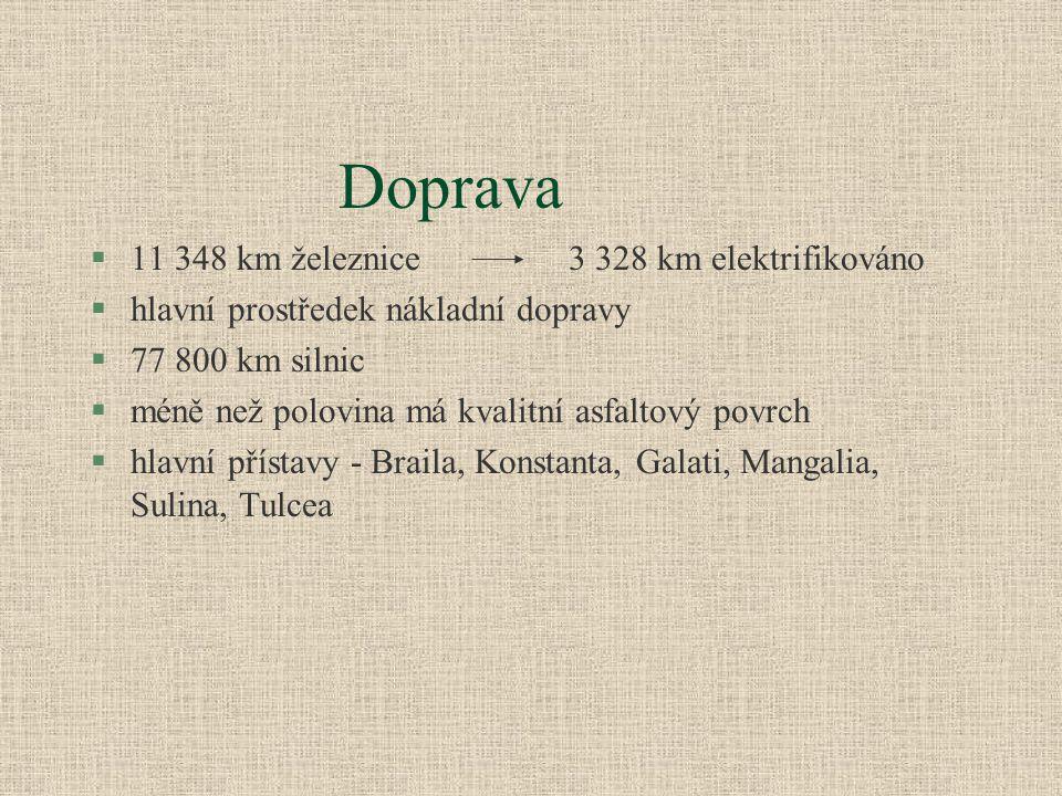 §11 348 km železnice 3 328 km elektrifikováno §hlavní prostředek nákladní dopravy §77 800 km silnic §méně než polovina má kvalitní asfaltový povrch §hlavní přístavy - Braila, Konstanta, Galati, Mangalia, Sulina, Tulcea Doprava