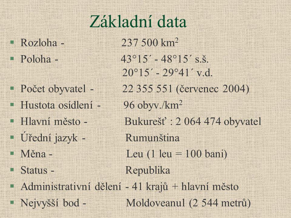 Základní data §Rozloha - 237 500 km 2 §Poloha - 43°15´ - 48°15´ s.š. 20°15´ - 29°41´ v.d. §Počet obyvatel - 22 355 551 (červenec 2004) §Hustota osídle