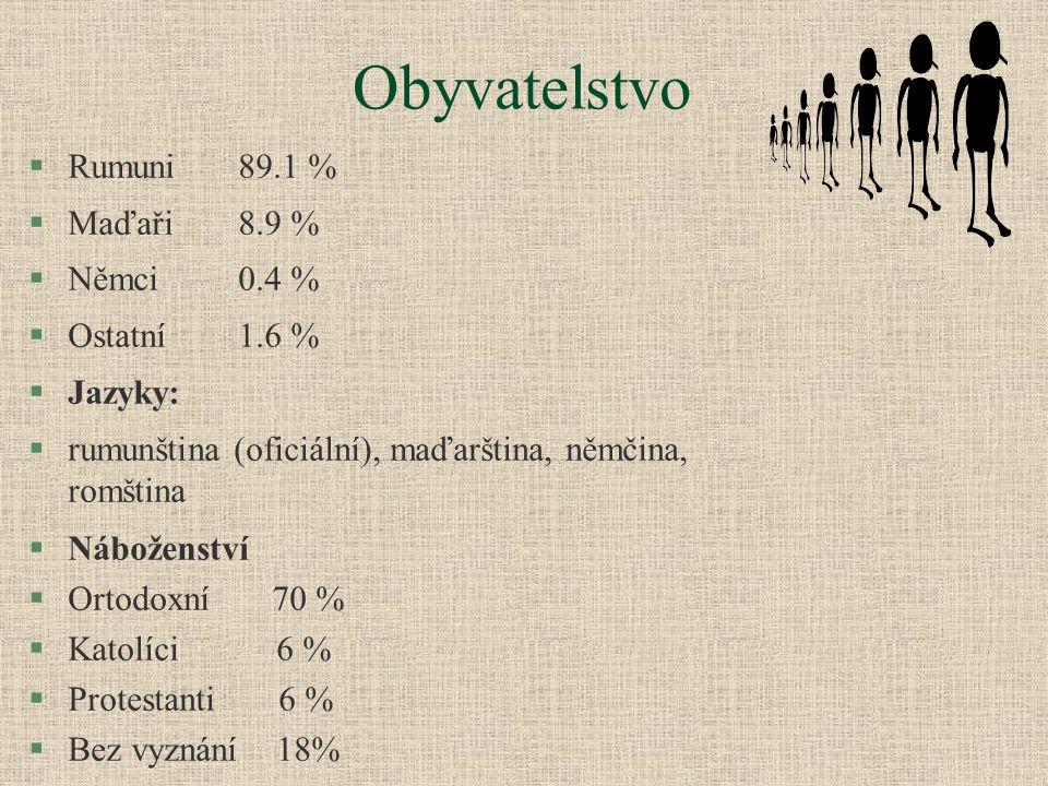 Obyvatelstvo §Rumuni89.1 % §Maďaři8.9 % §Němci0.4 % §Ostatní1.6 % §Jazyky: §rumunština (oficiální), maďarština, němčina, romština §Náboženství §Ortodo