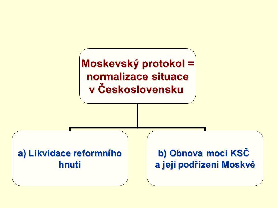 Moskevský protokol = normalizace situace v Československu a)Likvidace reformního hnutí b) Obnova moci KSČ a její podřízení Moskvě