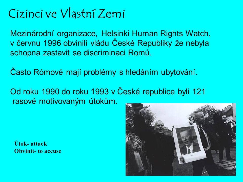Cizinci ve Vlastní Zemi Mezinárodní organizace, Helsinki Human Rights Watch, v červnu 1996 obvinili vládu České Republiky že nebyla schopna zastavit s