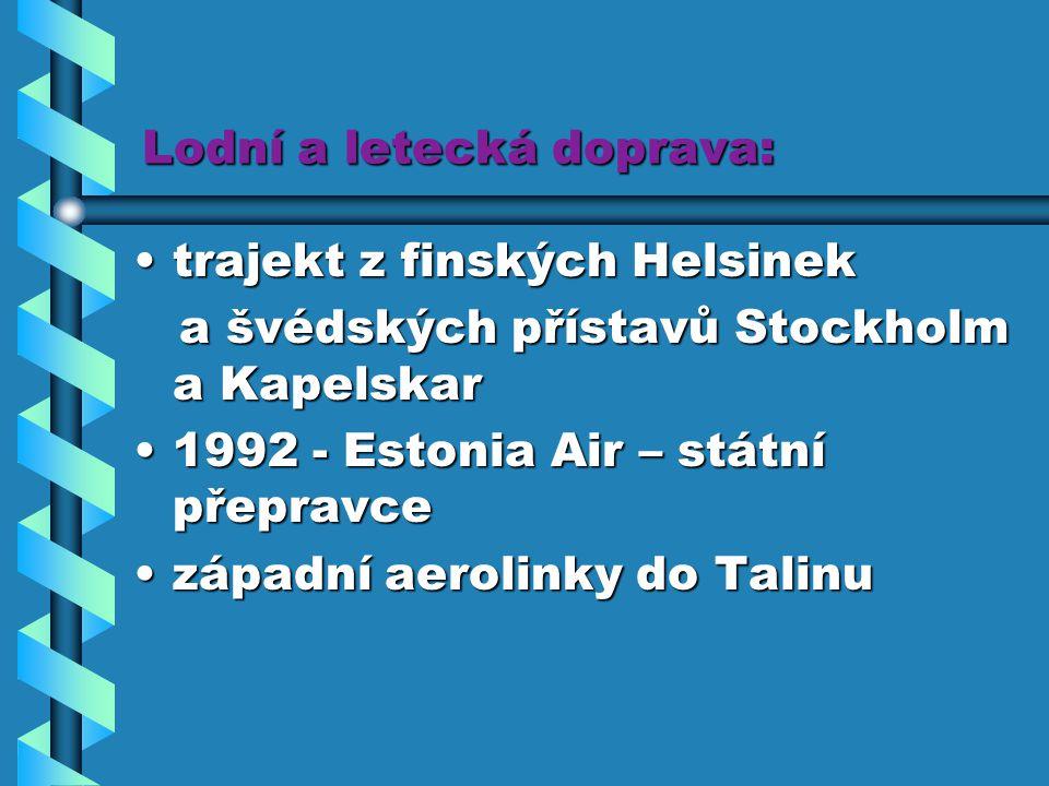 Lodní a letecká doprava: trajekt z finských Helsinektrajekt z finských Helsinek a švédských přístavů Stockholm a Kapelskar a švédských přístavů Stockh