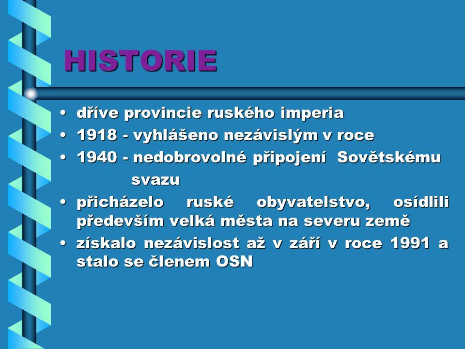 HISTORIE dříve provincie ruského imperiadříve provincie ruského imperia 1918 - vyhlášeno nezávislým v roce1918 - vyhlášeno nezávislým v roce 1940 - ne