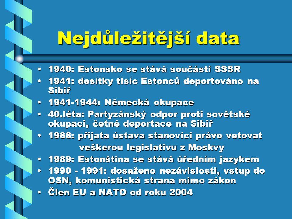 Nejdůležitější data Nejdůležitější data 1940: Estonsko se stává součástí SSSR1940: Estonsko se stává součástí SSSR 1941: desítky tisíc Estonců deporto