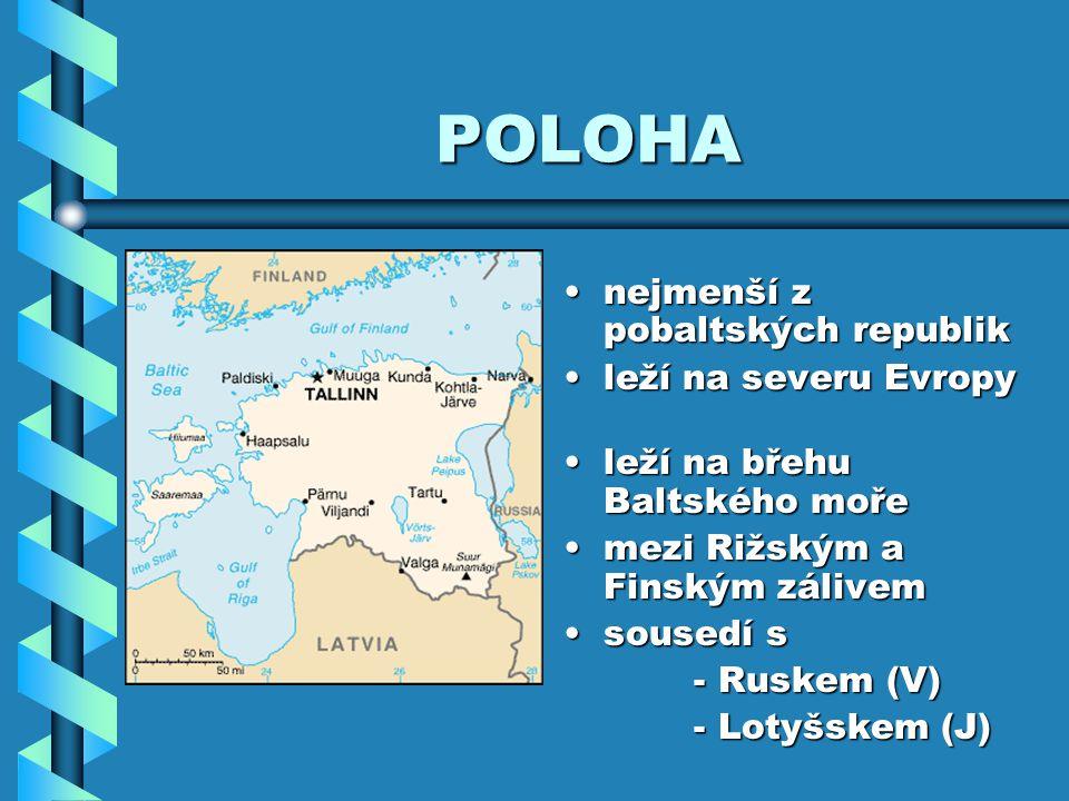 POLOHA nejmenší z pobaltských republik leží na severu Evropy leží na břehu Baltského moře mezi Rižským a Finským zálivem sousedí s - Ruskem (V) - Loty