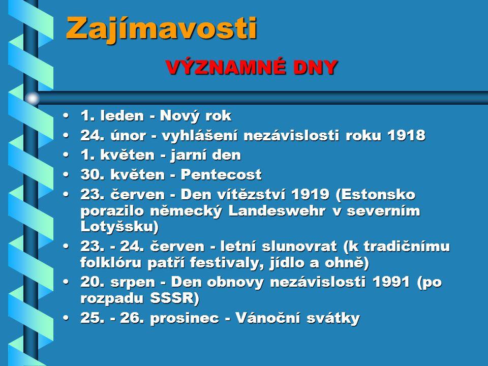 Zajímavosti VÝZNAMNÉ DNY 1. leden - Nový rok1. leden - Nový rok 24. únor - vyhlášení nezávislosti roku 191824. únor - vyhlášení nezávislosti roku 1918