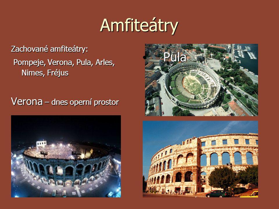 Amfiteátry Zachované amfiteátry: Pompeje, Verona, Pula, Arles, Nimes, Fréjus Pompeje, Verona, Pula, Arles, Nimes, Fréjus Verona – dnes operní prostor