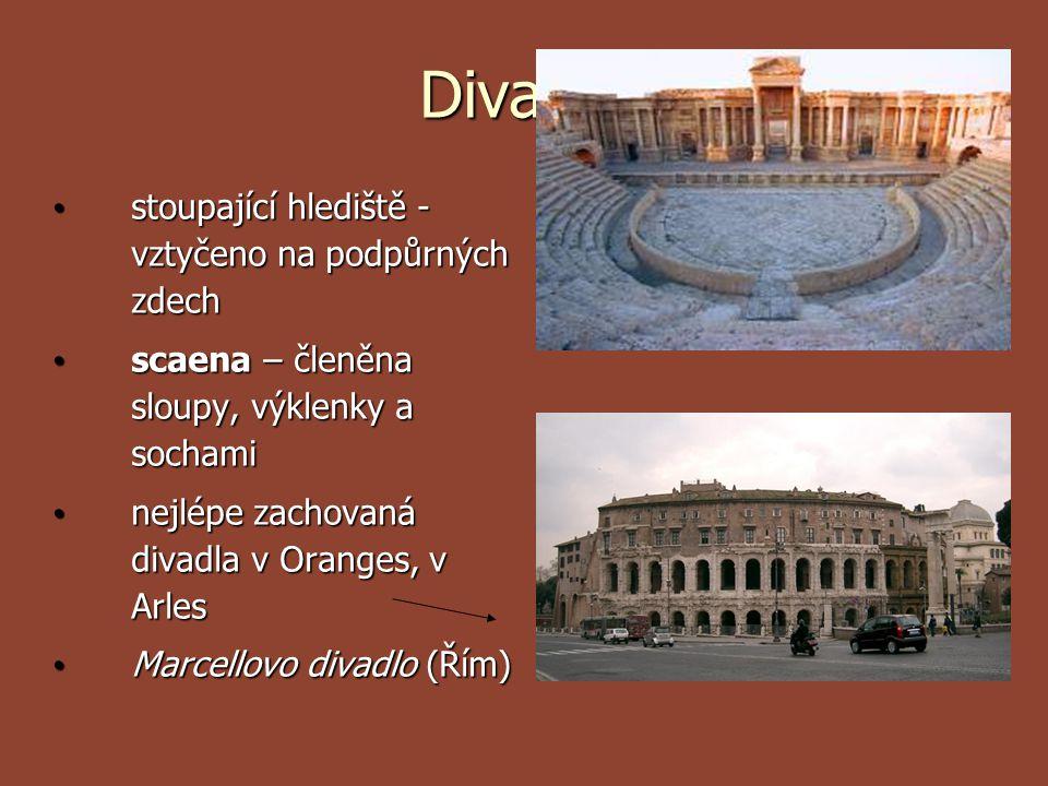 Divadla stoupající hlediště - vztyčeno na podpůrných zdech stoupající hlediště - vztyčeno na podpůrných zdech scaena – členěna sloupy, výklenky a soch