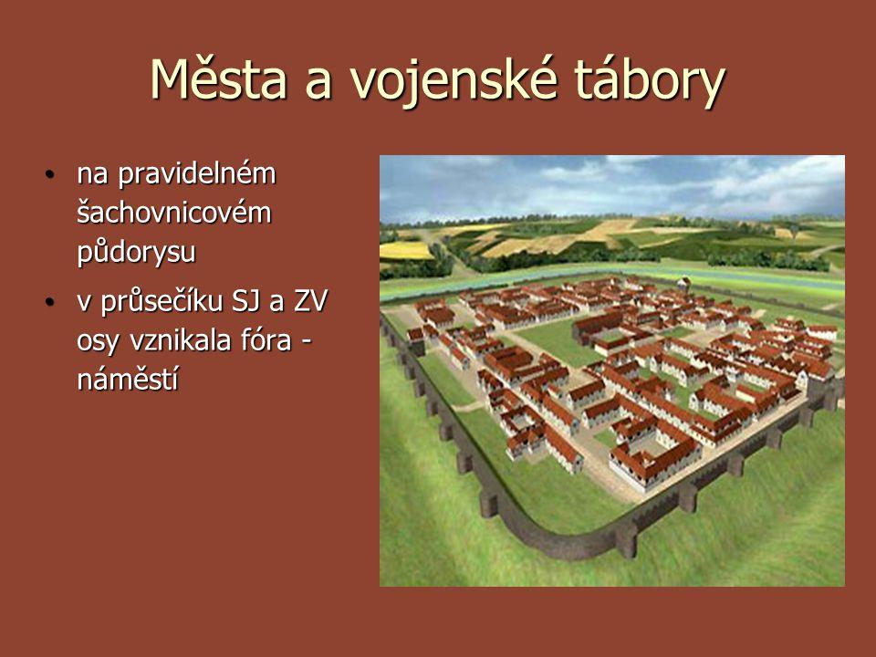 Města a vojenské tábory na pravidelném šachovnicovém půdorysu na pravidelném šachovnicovém půdorysu v průsečíku SJ a ZV osy vznikala fóra - náměstí v