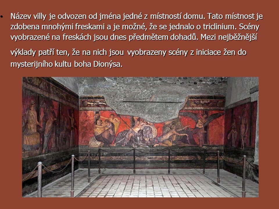 Název villy je odvozen od jména jedné z místností domu. Tato místnost je zdobena mnohými freskami a je možné, že se jednalo o triclinium. Scény vyobra