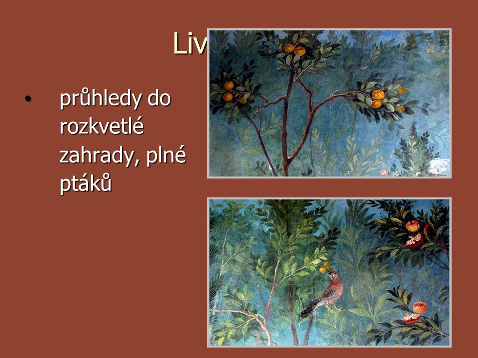 Liviina vila průhledy do rozkvetlé zahrady, plné ptáků průhledy do rozkvetlé zahrady, plné ptáků