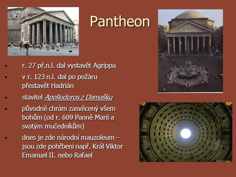 Pantheon Pantheon r. 27 př.n.l. dal vystavět Agrippa r. 27 př.n.l. dal vystavět Agrippa v r. 123 n.l. dal po požáru přestavět Hadrián v r. 123 n.l. da