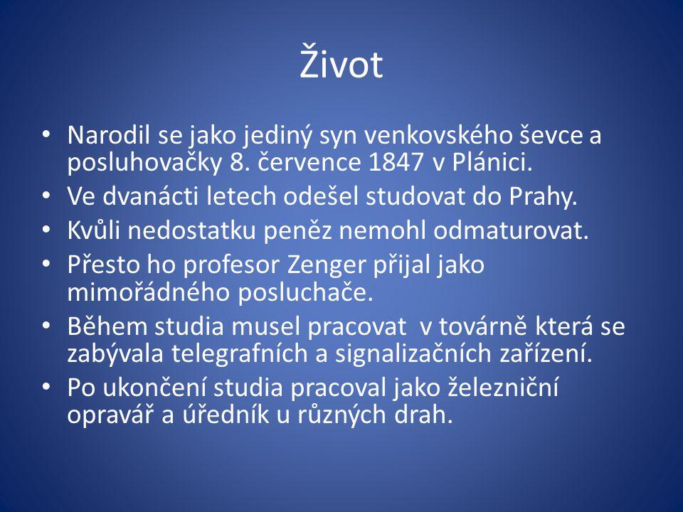 Život Narodil se jako jediný syn venkovského ševce a posluhovačky 8. července 1847 v Plánici. Ve dvanácti letech odešel studovat do Prahy. Kvůli nedos