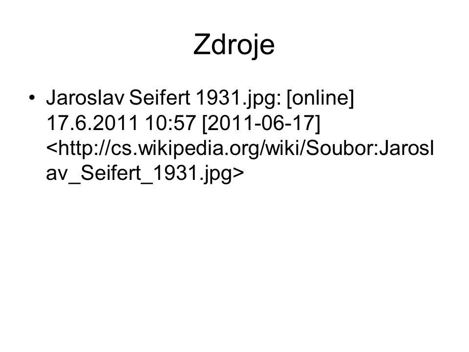 Zdroje Jaroslav Seifert 1931.jpg: [online] 17.6.2011 10:57 [2011-06-17]
