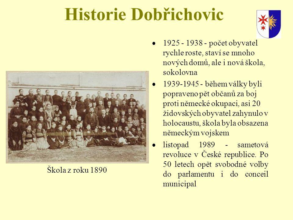 Historie Dobřichovic  1925 - 1938 - počet obyvatel rychle roste, staví se mnoho nových domů, ale i nová škola, sokolovna  1939-1945 - během války byli popraveno pět občanů za boj proti německé okupaci, asi 20 židovských obyvatel zahynulo v holocaustu, škola byla obsazena německým vojskem  listopad 1989 - sametová revoluce v České republice.
