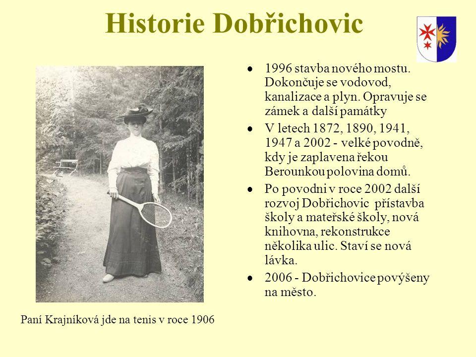 Historie Dobřichovic  1996 stavba nového mostu.Dokončuje se vodovod, kanalizace a plyn.