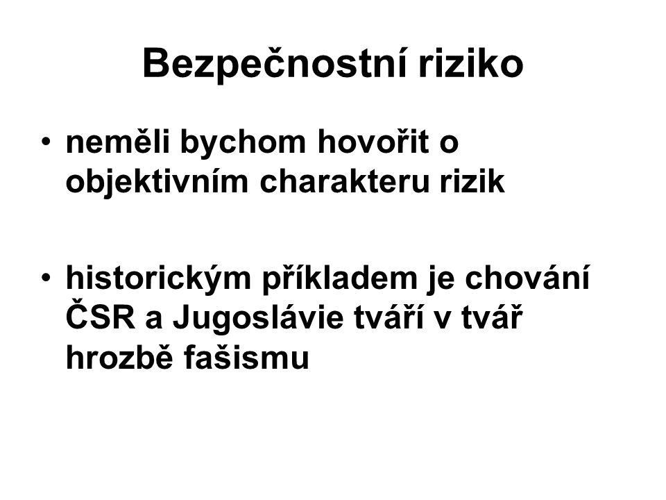 Bezpečnostní riziko neměli bychom hovořit o objektivním charakteru rizik historickým příkladem je chování ČSR a Jugoslávie tváří v tvář hrozbě fašismu