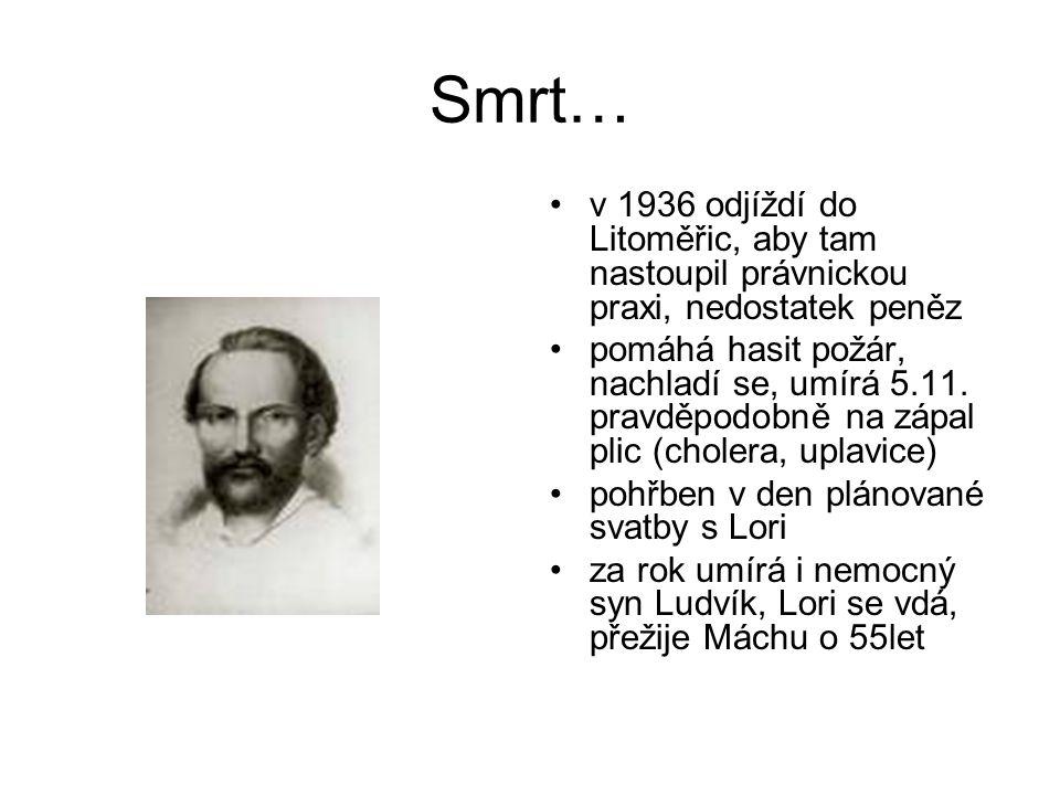 Smrt… v 1936 odjíždí do Litoměřic, aby tam nastoupil právnickou praxi, nedostatek peněz pomáhá hasit požár, nachladí se, umírá 5.11. pravděpodobně na