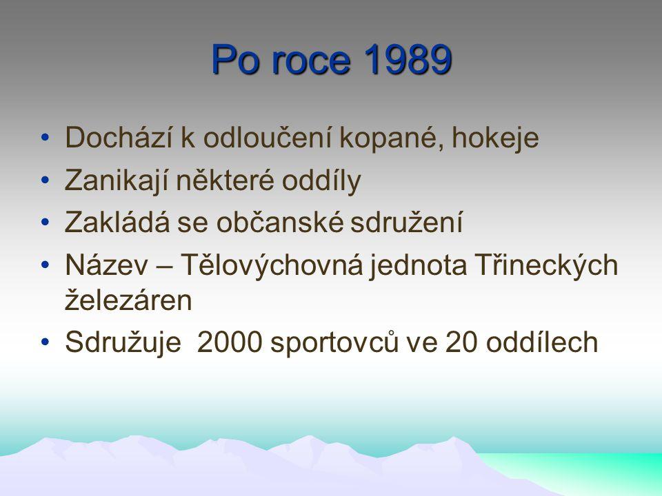 Po roce 1989 Dochází k odloučení kopané, hokeje Zanikají některé oddíly Zakládá se občanské sdružení Název – Tělovýchovná jednota Třineckých železáren Sdružuje 2000 sportovců ve 20 oddílech