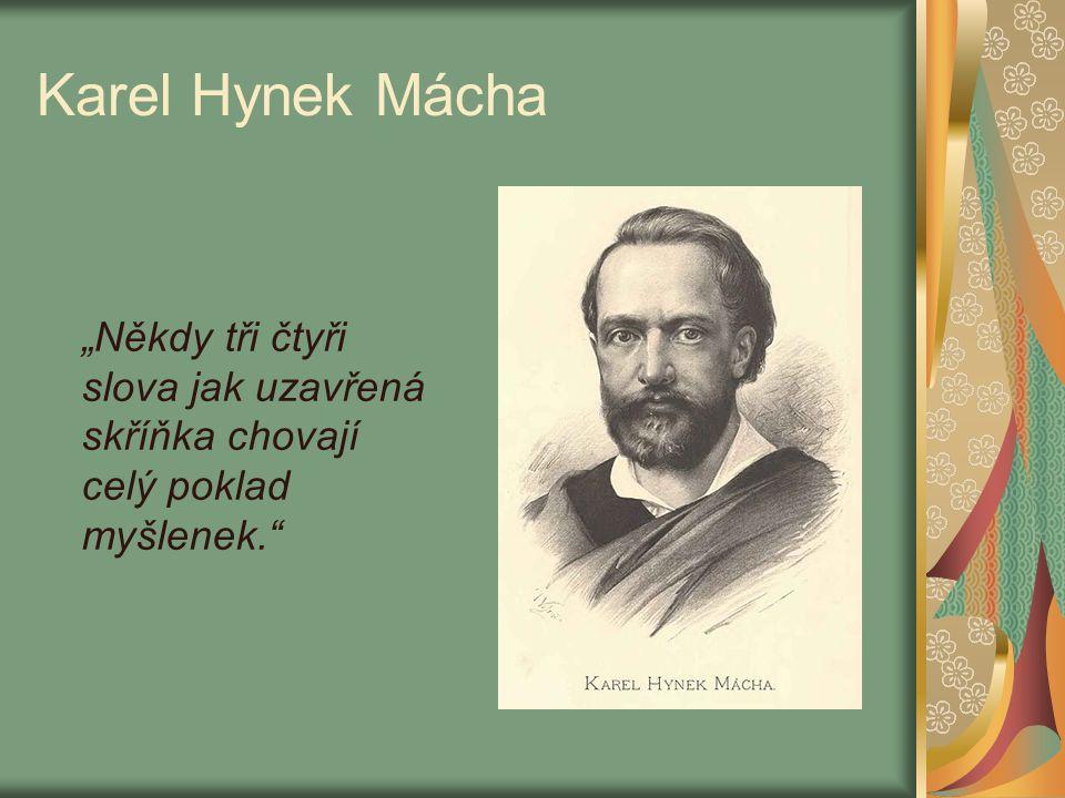 """Karel Hynek Mácha """"Někdy tři čtyři slova jak uzavřená skříňka chovají celý poklad myšlenek."""""""