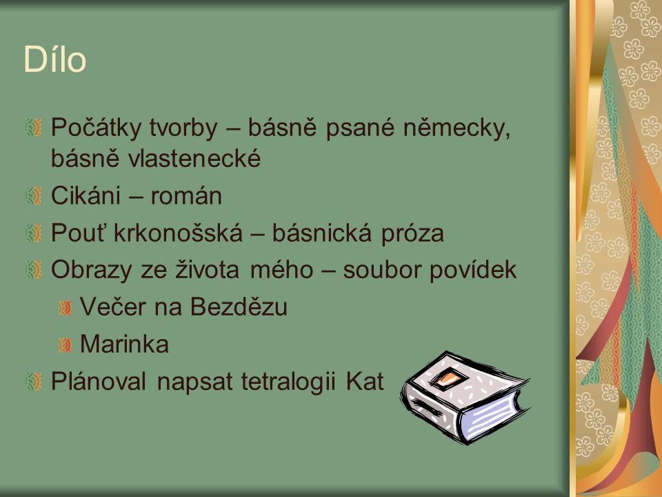 Dílo Počátky tvorby – básně psané německy, básně vlastenecké Cikáni – román Pouť krkonošská – básnická próza Obrazy ze života mého – soubor povídek Ve