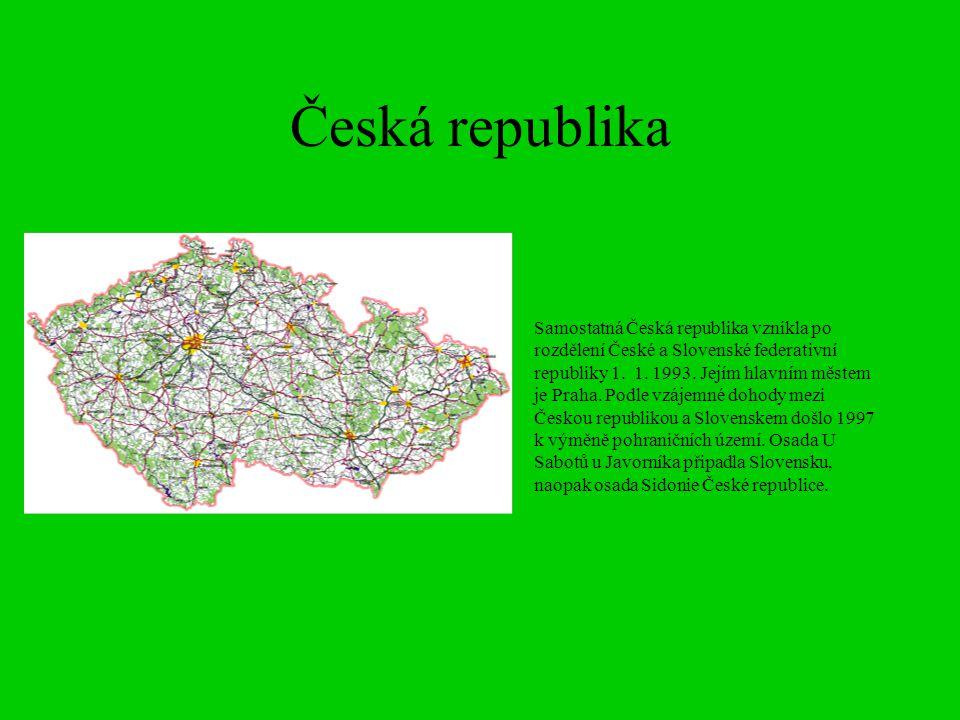 Česká republika Samostatná Česká republika vznikla po rozdělení České a Slovenské federativní republiky 1. 1. 1993. Jejím hlavním městem je Praha. Pod
