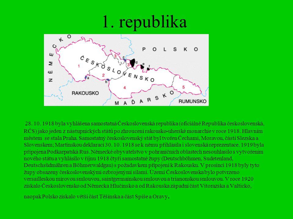 1. republika 28. 10. 1918 byla vyhlášena samostatná Československá republika (oficiálně Republika československá, RČS) jako jeden z nástupnických stát