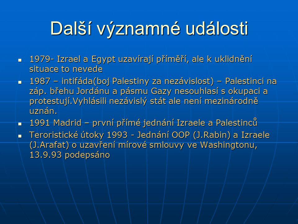 Další významné události 1979- Izrael a Egypt uzavírají příměří, ale k uklidnění situace to nevede 1979- Izrael a Egypt uzavírají příměří, ale k uklidnění situace to nevede 1987 – intifáda(boj Palestiny za nezávislost) – Palestinci na záp.