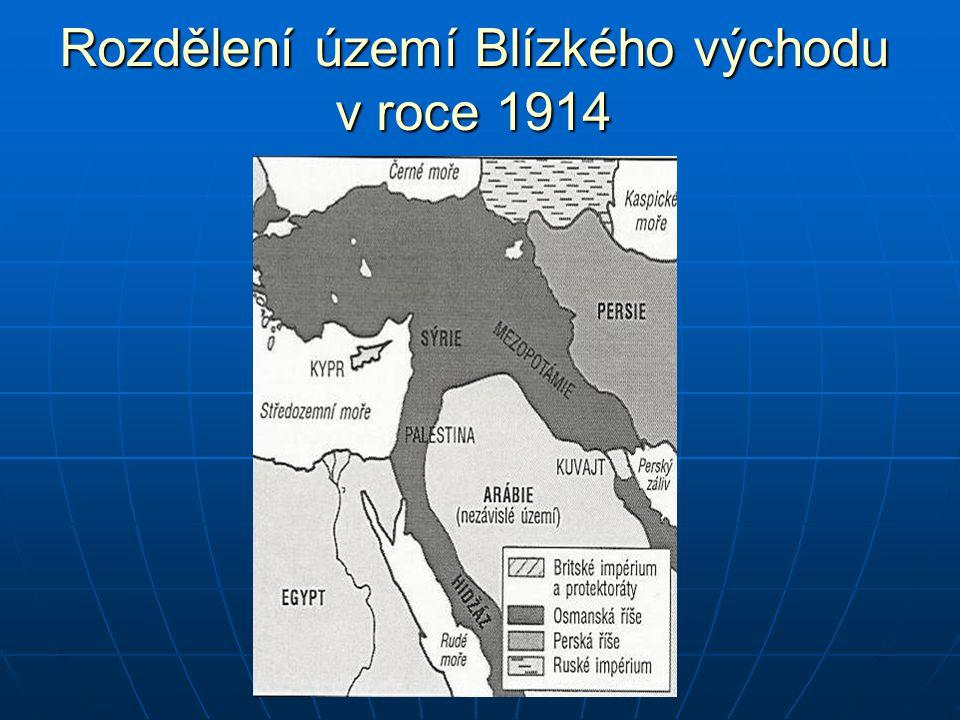 Rozdělení území Blízkého východu v roce 1914