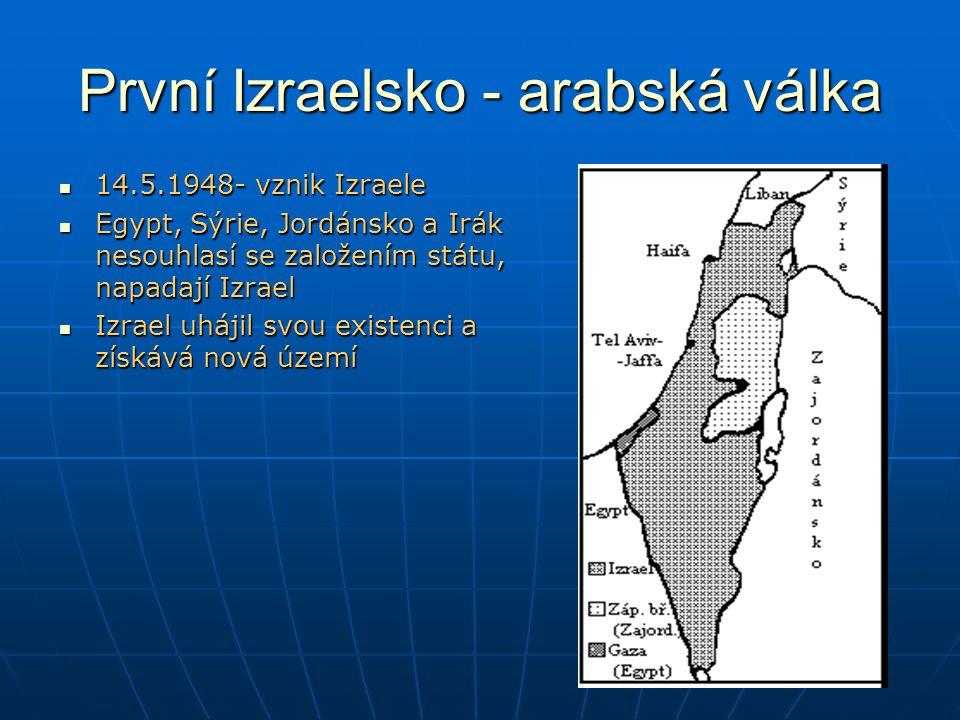 První Izraelsko - arabská válka 14.5.1948- vznik Izraele 14.5.1948- vznik Izraele Egypt, Sýrie, Jordánsko a Irák nesouhlasí se založením státu, napadají Izrael Egypt, Sýrie, Jordánsko a Irák nesouhlasí se založením státu, napadají Izrael Izrael uhájil svou existenci a získává nová území Izrael uhájil svou existenci a získává nová území