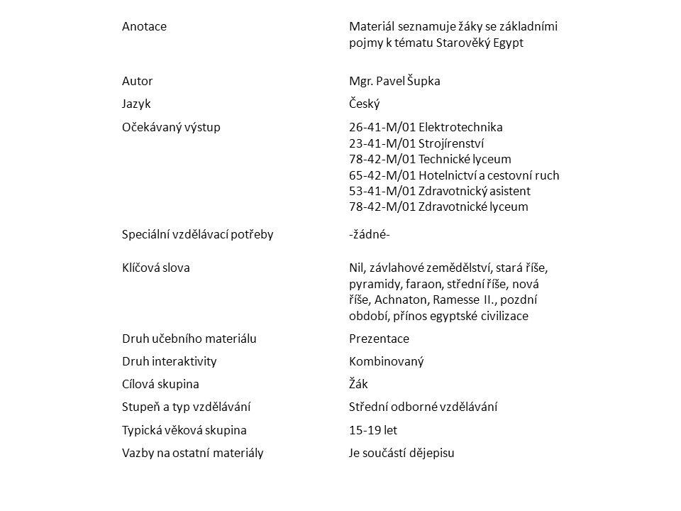 AnotaceMateriál seznamuje žáky se základními pojmy k tématu Starověký Egypt AutorMgr. Pavel Šupka JazykČeský Očekávaný výstup26-41-M/01 Elektrotechnik