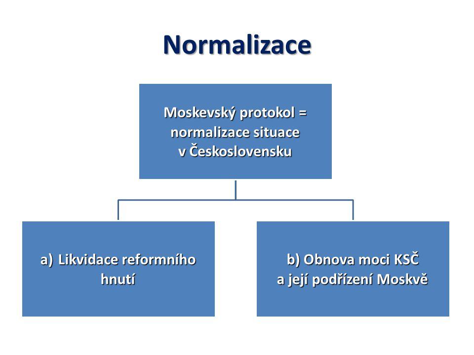 Normalizace Moskevský protokol = normalizace situace v Československu a)Likvidace reformního hnutí b) Obnova moci KSČ a její podřízení Moskvě