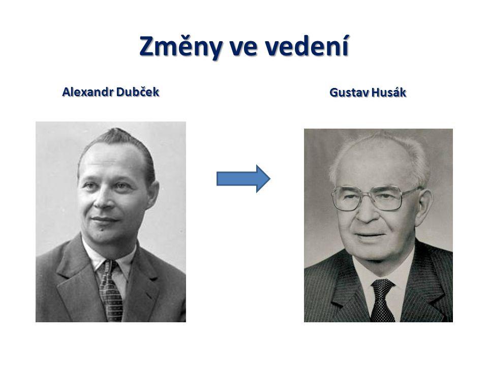 Změny ve vedení Alexandr Dubček Gustav Husák
