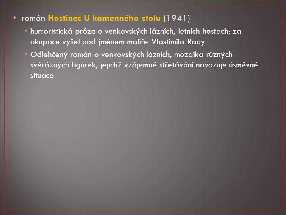 """román Dům na předměstí (1928) společenská kritika a satira – o majiteli činžovního domu (hrůzovláda i ve vlastní rodině) a nájemnících Tupý a nesnášenlivý nadstrážník Faktor, vlastní dům na pražské periferii, snaží se z nájemníků co nejvíce """"vyždímat , ale současně si z nich udělá objekt své touhy po moci Nájemník Syrový – toho Faktor pronásleduje, nakonec Syrový zdědil dům a 835 000 Kč."""