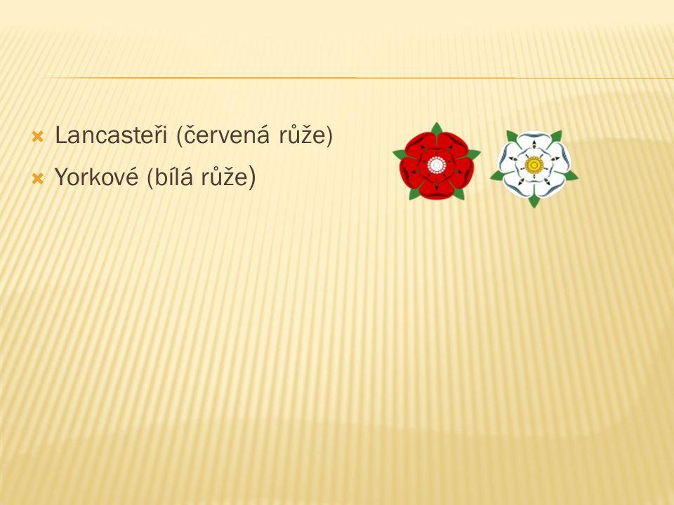  Lancasteři (červená růže)  Yorkové (bílá růže )
